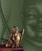 Laughing Posters - Laughing Buddah Poster by Judi Quelland