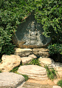 Laughing Framed Prints - Laughing Buddha in Temple Garden Framed Print by Carol Groenen