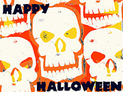 Spooky Card Mixed Media Posters - Laughing Skull Poster by Jame Hayes