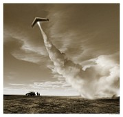 Astronautical Engineering Metal Prints - Launch Of An Early Rocket Model Metal Print by Detlev Van Ravenswaay