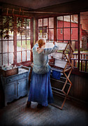Blue Dress Posters - Laundry - Miss Lady Blue  Poster by Mike Savad