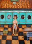 Machine Paintings - Laundry Day 4 by Leah Saulnier The Painting Maniac