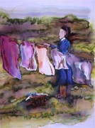 Batik Tapestries - Textiles Metal Prints - Laundry Day Metal Print by Carolyn Doe