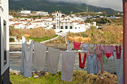 Washing Clothes Framed Prints - Laundry day in Azores Framed Print by Gaspar Avila
