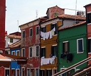 Laundry Day In Burano Print by Carla Parris