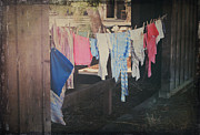 Vintage Digital Art Metal Prints - Laundry Day Metal Print by Laurie Search