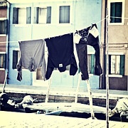 Venice Waterway Posters - laundry on a clothes line in Burano - Venice Poster by Joana Kruse