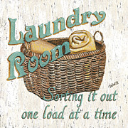 Basket Painting Metal Prints - Laundry Room Sorting it Out Metal Print by Debbie DeWitt
