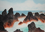 Rocky Coast Paintings - Laupahoehoe Hawaii by Kerri Ligatich