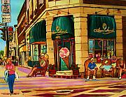 Montreal Cityscapes Paintings - Laura Secord Candy And Cone Shop by Carole Spandau