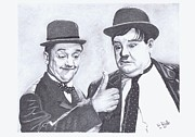Hardy Drawings - Laurel and Hardy by Dave Dudley