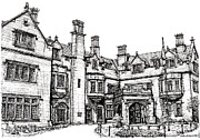 Ink Drawing Drawings - Laurel Hall in Indianapolis by Lee-Ann Adendorff