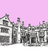 Hall Drawings Prints - Laurel Hall in pink Print by Building  Art