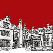 Hall Drawings Framed Prints - Laurel Hall in red Framed Print by Building  Art