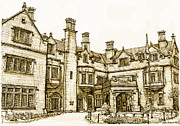 Personalized Drawings Prints - Laurel Hall in sepia Print by Building  Art