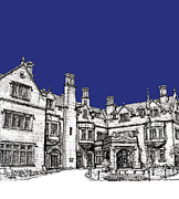 Hall Drawings Prints - Laurel Hall royal blue Print by Building  Art