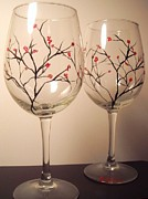 Branches Glass Art - Laurel Red by Brandi  Hickman