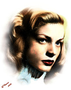 Bacall Framed Prints - Lauren Bacall Framed Print by Arne Hansen