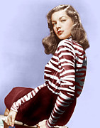 Looking Over Shoulder Posters - Lauren Bacall, Ca. 1944 Poster by Everett