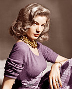 Plaid Skirt Framed Prints - Lauren Bacall, Ca. 1945 Framed Print by Everett