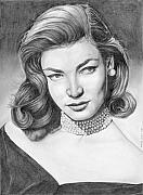 Actress Drawings Framed Prints - Lauren Bacall Framed Print by Rob De Vries