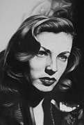 Charcoal Portrait Posters - Lauren Bacall Poster by Steve Hunter