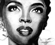 Hip Hop Drawings Posters - Lauryn Hill Drawing Poster by Keeyonardo 