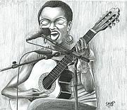 Live Music Drawings - Lauryn Hill by James  Mingo