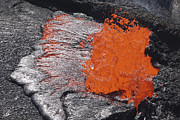 Volcanic Rocks Framed Prints - Lava Bursting At Edge Of Active Lava Framed Print by Richard Roscoe