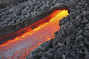 Flowing Lava Posters - Lava Flowing From Small Tunnel On Flank Poster by Richard Roscoe
