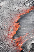 Volcanic Activity Framed Prints - Lava Flowing From Under Crust Of Lava Framed Print by Richard Roscoe