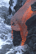 Flowing Lava Posters - Lava Flowing Into Sea, Kilauea Volcano Poster by Richard Roscoe