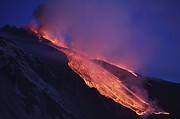 Volcano Prints - Lava Flowing Into Valle Del Bove Print by Richard Roscoe