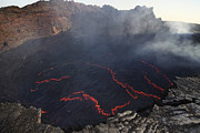 Craters Prints - Lava Lake In Pit Crater, Erta Ale Print by Richard Roscoe