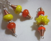 Abstract Jewelry - Lava Lamp Earrings and Pendant by Janet  Telander