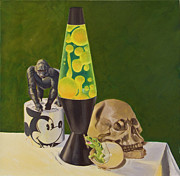 Toilet Painting Originals - Lava lamp still life by Ken Bruzenak