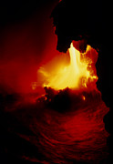 Entering Photo Prints - Lava Pouring Into The Sea From Kilauea Volcano Print by G. Brad Lewis