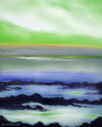 Sunset Originals Posters - Lava Rock Abstract Sunset in Blue and Green Poster by Gina De Gorna
