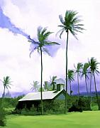 Tropical Landscapes Prints - Lava rock church Print by Kurt Van Wagner