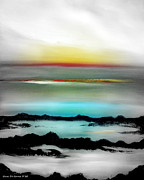 Sunset Posters Painting Prints - Lava Rock Sunset Print by Gina De Gorna