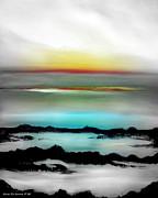Sunsets Original Paintings - Lava Rock Sunset by Gina De Gorna