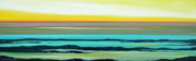 Sunsets Original Paintings - Lava Rocks Panoramic Sunset in Yellow and Blue by Gina De Gorna