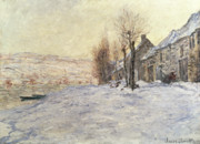 Winter Snow Landscape Posters - Lavacourt under Snow Poster by Claude Monet