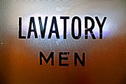 Frosted Glass Posters - Lavatory Mens Poster by Geoff Strehlow