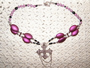 Plastic Jewelry - Lavendar Bead Cross Neckalce by Megan Brandl
