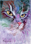 Cat Paintings - Lavender and Gold by Sherry Shipley