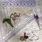 Sewing Tapestries - Textiles Posters - Lavender and Lace Poster by Masha Novoselova