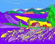 Lavender Fields Print by Alberto Lacoius-Petruccelli