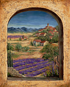 Mediterranean Landscape Painting Posters - Lavender Fields and Village of Provence Poster by Marilyn Dunlap