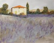 Fields Framed Prints - Lavender Framed Print by Guido Borelli